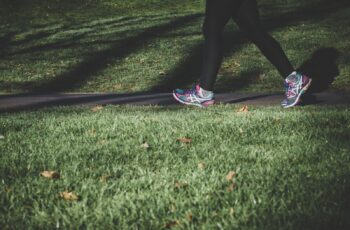 shallow focus photography of person walking on road between grass
